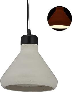 Relaxdays Lámpara de Techo de Cemento, Iluminación Colgante, Vintage, E27, 119 x 26 cm, 1 Ud, Gris & Negro