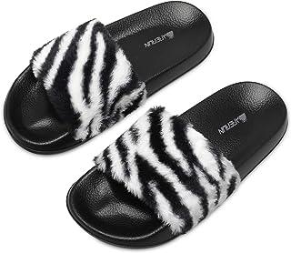 شباشب من الفرو للنساء في الأماكن المغلقة والمفتوحة، حذاء ربيع صيفي مسطح مضاد للانزلاق، نعل مفتوح من الأمام، أسود مقاس 8 M ...