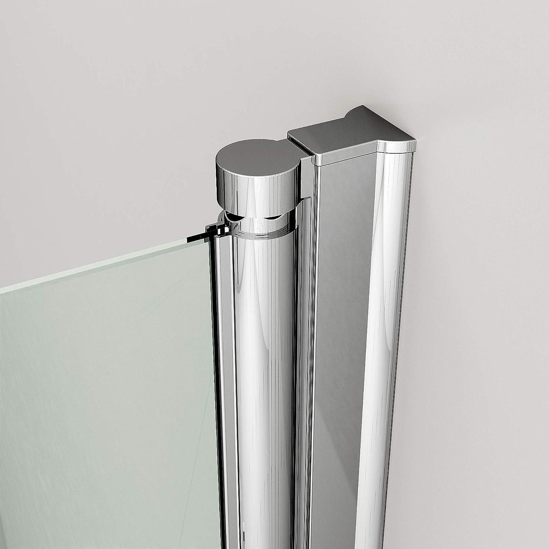 75x75x195cm Klappbar Duschabtrennung Eckeinstieg Duschkabine Mit Beidseitiger 5mm Nano-Beschichtung ESG Glas Dusche Faltt/ür Duschwand