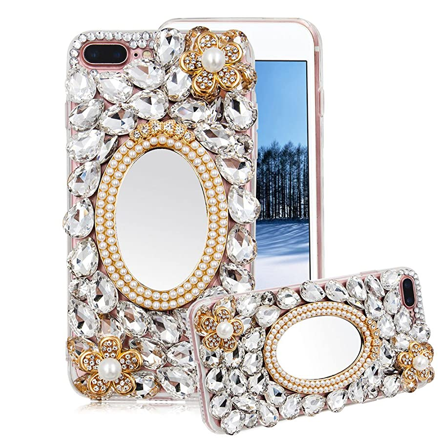 For iPhone 6S Plus/6 Plus Case Bling, Aearl Crystal Glitter Full Diamond Shiny Rhinestone Gems Pearl Makeup Mirror Clear Cover Hard PC Acrylic Soft Bumper Protective Shell for iPhone 6 Plus/6S Plus