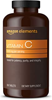 Amazon Elements Vitamin C 1000mg, Supports Healthy Immune System, Vegan, 300 Tablets, 10 month...