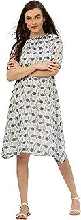 Women Floral Print Georgette Dress (Off-White & Blue)