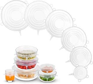Silicone Stretch Lids, Zero Waste Reusable Silicon Container Lid for Cover Leftover Food and Fruit or Bowl (6PCS, White)