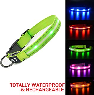 MASBRILL Led Lighted Up Dog Collar Flashing 100% Waterproof USB Rechargeable Pet Dog Safety Collar Glow in The Dark Light-up Neck Loop