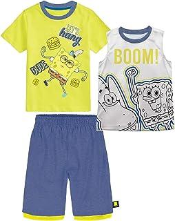Nickelodeon Boys Spongebob Let's Hang Dude Yellow 3 Piece T-Shirt Tank Top Short Set