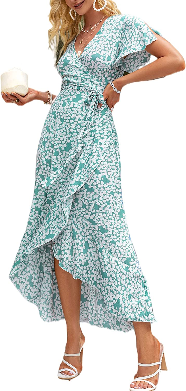 BerryGo Attention brand Women's Boho V Neck Dress Wrap Discount is also underway Floral Maxi Ruffle