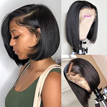 BLY Short Straight Bob Wigs Brazilian Virgin Human Hair Lace Front Wigs Human Hair (12inch) 13x4 Lace Part 150% Density Pre Plucked with Baby Hair