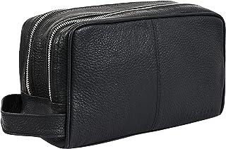 حقيبة أدوات تجميل للسفر من الجلد المحبب من توب جراين - حقيبة أدوات تجميل كلاسيكية - لون أسود