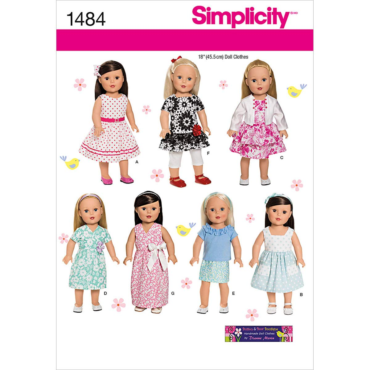 2-3-4-5 Size CDD McCall Pattern Company M6875 Childrens//Girls//18-Inch Dolls Dresses Sewing Template
