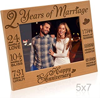 KATE POSH - Our 2nd Cotton Anniversary Engraved Picture Frame, 2 Years Together as Husband & Wife, 2 Years of Marriage, Happy Second for her, Gifts for him, Couple (5x7-Horizontal)