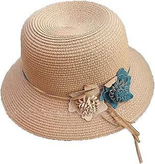 Straw Hat Beach Hat Round Cap Summer Shade Sunscreen Ladies Caps(Khaki)