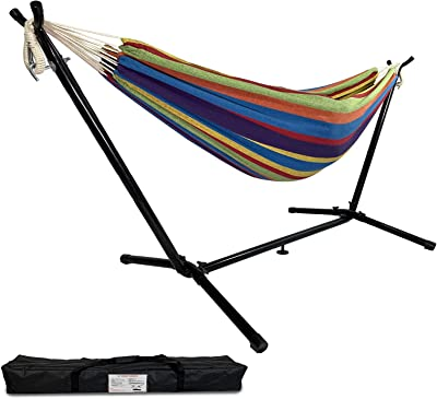 Highwild Double Hammock with Space Saving Steel Stand - Max 600 Lbs - 2 Person Adjustable Cotton Hammock Includes Portable Carrying Bag(Blue/Purple)