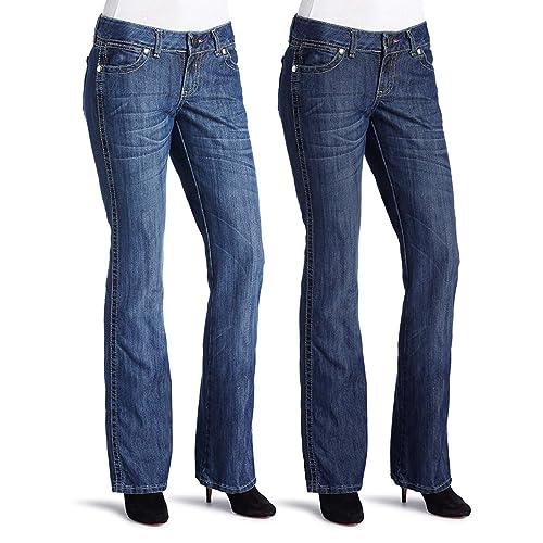 66e375c2a73 Wrangler Jeans (2 Pack) Classic Denim Low Rise Jeans for Women Bootcut  Stonewash Jean