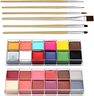 CCbeauty Professional Face Paint Oil 24 Colors Halloween Body Art Party Fancy Make Up with 6 Wooden Brushes