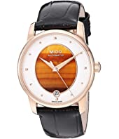 Mido - Baroncelli Wild Stone Yellow Gold PVD and Black Leather Strap - M0352073647100
