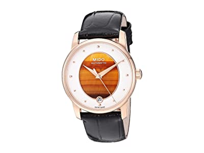 Mido Baroncelli Wild Stone Yellow Gold PVD and Black Leather Strap M0352073647100 (Tiger Eye) Watches