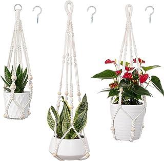 joybest 3-Pack Macrame Plant Hanger with 3 Hooks Beige Indoor Outdoor Hanging Planters Set Hanging Plant Holder Stand Flow...