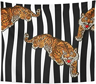 Tinmun Tapestry Japan Tiger Modern Striped Black Bomber Jacket Denim Tee Wall Hanging for Living Room Bedroom Dorm 60x80 inches