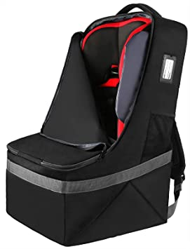 Car Seat Travel Bag, Padded Car Seats Backpack, Large Durable Carseat Carrier Bag, Airport Gate Check Bag, Infant Seat Travel Bag with Padded Shoulder Strap, Travel Car Seat Cover, Black: image