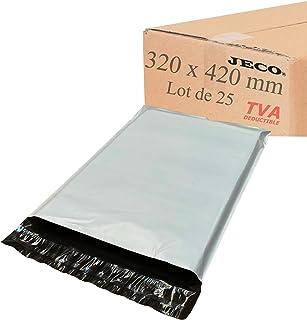 JECO® - Enveloppes plastique d'expédition opaques 320x420 mm, pochettes d'expédition VAD 32x42 cm 50 microns. Légère, soli...