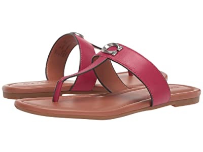 COACH Jessie Thong Sandal with Signature Buckle (Bright Cherry Leather) Women