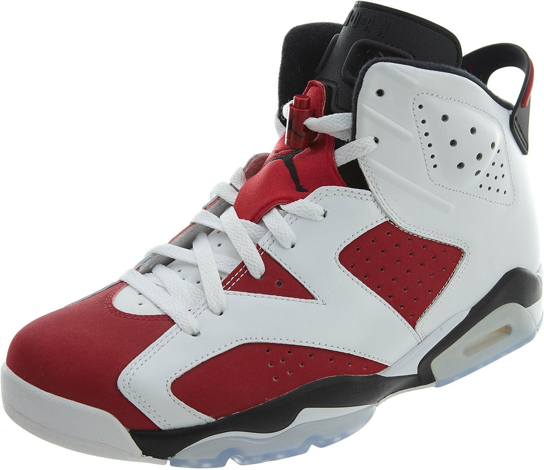 NIKE Mens Air Jordan 6 Retro Carmine Leather Basketball Shoes