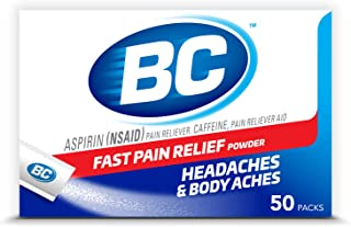 BC Powder | Fast Pain Relief | Aspirin (NSAID) & Caffeine | 50 Count (10042037103993)