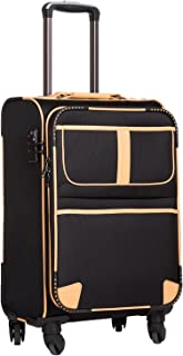 Coolife Luggage Expandable Suitcase Spinner Softshell TSA Lock (S(20in), Black.)