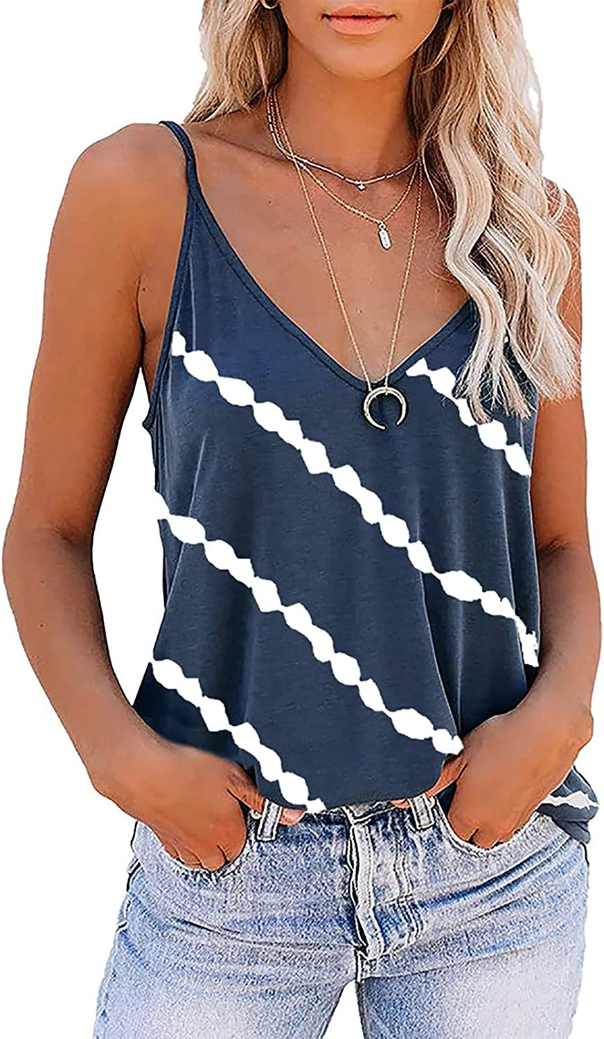 Summer Tops for Women Sexy,Cute Sleeveless V Neck Workout Tank Tops Printed Running Casual Athletic T Shirts