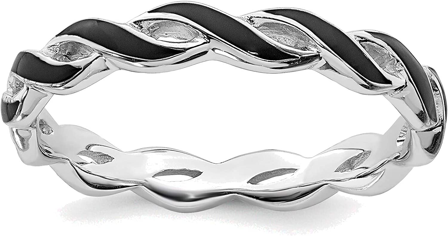 Max 89% Max 67% OFF OFF Bonyak Jewelry Solid Sterling Stackable Expressions Black Silver