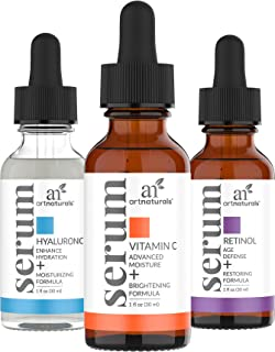 ArtNaturals Anti-Aging-Set with Vitamin-C Retinol and Hyaluronic-Acid - (3 x 1 Fl Oz / 30ml) - Wrinkle Remover Face Serum for Age and Dark Spot Corrector – All Natural and Moisturizing Facial Oils