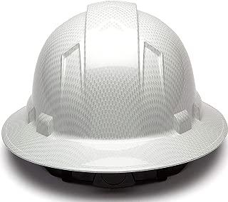 Full Brim Hard Hat, Adjustable Ratchet 4 Pt Suspension, Durable Protection safety helmet, Graphite Pattern Design, White Shiny, by Acerpal