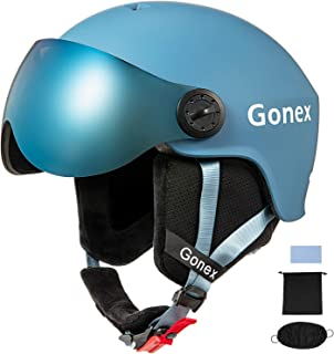 Gonex ASTM Certified Ski Helmet with Detachable Goggles, Winter Snowboard Windproof Skiing Helmet for Men, Women & Young, Accessories Included, S/M/L Size