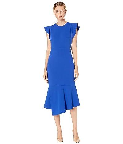 Vince Camuto Flutter Sleeve Asymmetrical Peplum Hem Dress (Electric Blue) Women