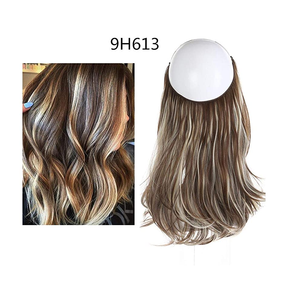 Wave Halo Hair Extensions Invisible Ombre Bayalage Synthetic Natural Flip Hidden Secret Wire Crown Grey Pink,9H613,16Inches