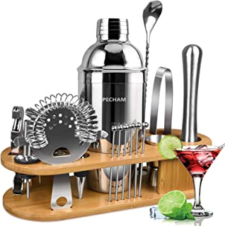 19 Pieces Bartender Kit, PECHAM Stainless Steel Cocktail Shaker Set Bar Tools Accessories Set with Stylish Bamboo Stand Pr...