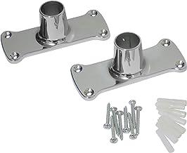 Heavy Duty Jumbo Rectangular Shower Curtain Rod Flange Bracket, Chrome Polished, Set of Two