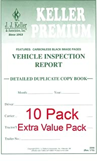 """Detailed Driver's Vehicle Inspection Report (DVIR) 10-Pk – Book Format, 2-Ply, Carbonless, with Blue Ink, Stock, 5.5"""" x 8.5"""", English – J. J. Keller & Associates"""