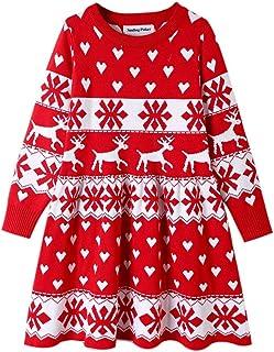 SMILING PINKER Girls Christmas Dress Xmas Long Sleeve Knit Winter Sweater Dress Twirl