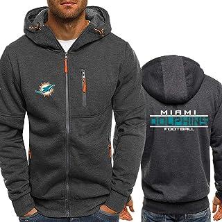 SHR-GCHAO Hoodies De Los Hombres/De La NFL Miami Dolphins, Uniforme De Béisbol del Equipo De Fútbol/Fútbol Uniforme/Impresión Cremallera Chaqueta Amante Sudaderas (M-XXXL),XL