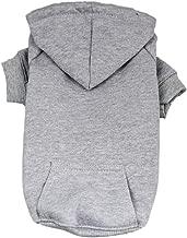 DennyBella Basic Dog Hoodie Blank Jacket Pet Sweatershirt, Grey