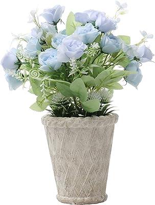 SAROSORA Artificial Roses in Vintage Roman Flower Pot Plants for Birthday Wedding Festival Indoor Home Decoration (Blue, White Pot)