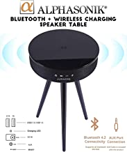Alphasonik Decor Modern Home Portable Bluetooth Speaker 360 Surround HD Sound with 10 Speakers Drivers Built-in Qi Wireless Charger Dual USB AUX Inputs End Table Coffee Table Night Stand Piano Black