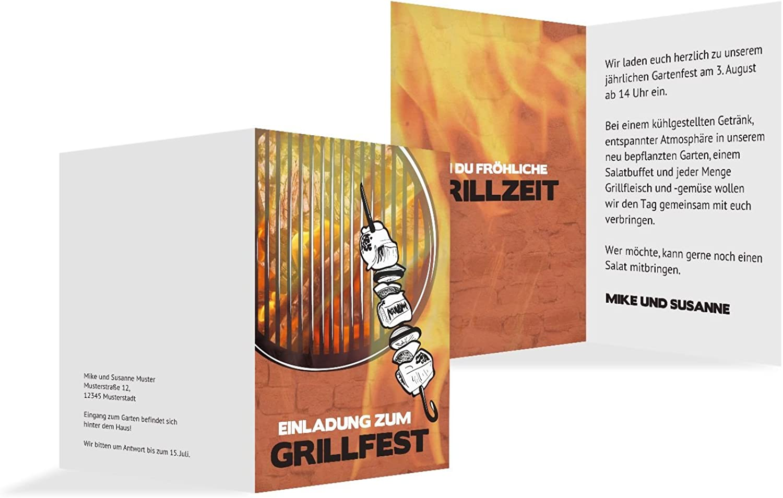 Einladung Sommerfest Grillzeit, 100 100 100 Karten, flamingoOrangerot B073H4MVYV    | Internationale Wahl  94a7ce
