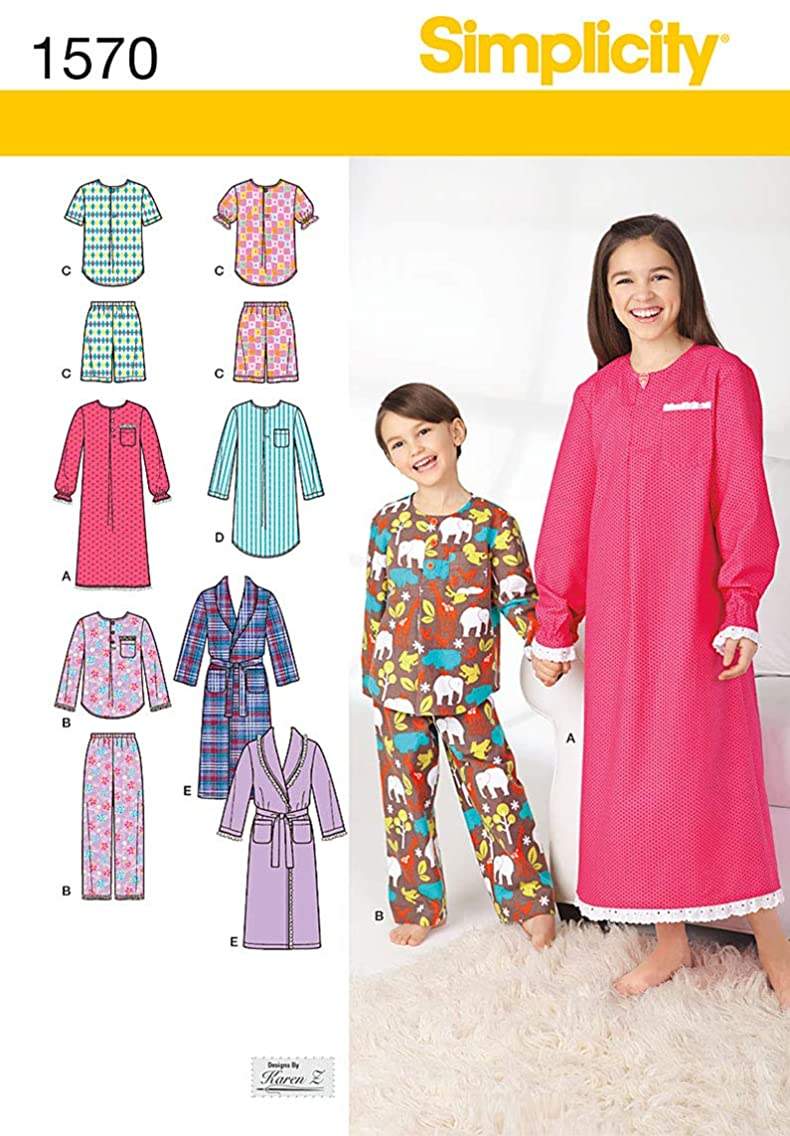 Simplicity Creative Patterns 1570 Child's, Girls' and Boys' Loungewear, HH (3-4-5-6)