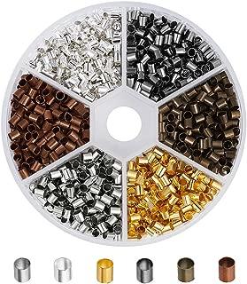 Pandahall 1200pcs/box 6 Colors Brass Crimp Beads Tube Crimp End Beads Tiny Column Lined Spacer Antique Bronze & Red Copper & Golden & Silver & Platinum & Black