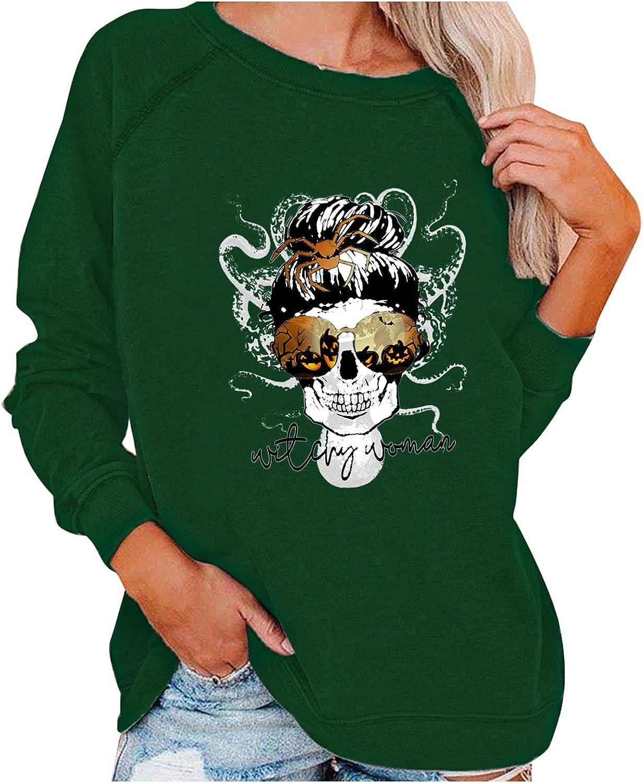 Oversized Sweatshirts for Women Halloween Sweatshirt Pumpkin Print Crewneck Sweatshirt Long Sleeve Tops Pullover