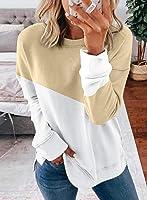 HIKARO Damen Rundhalsausschnitt Gestreiftes Sweatshirt Langarm Tunika Sweatshirt Tops Casual Pullover Baggy Blusen und...