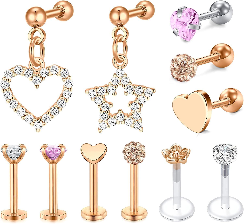 NIUSIMAN 16g Cartilage Earrings Hoop Studs for Women 11-14 Pcs Forwards Helix Earring Hoop Rook Daith Conch Tragus Earrings Stainless Steel Piercing Jewelry