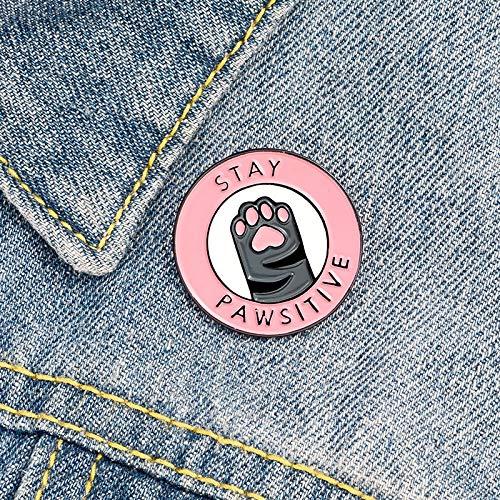 XIAODAN Stay Pawsitive Pink Cat Paw Cartoon CowboyBroche Esmalte Pines Broches de Metal para Mujeres Insignia Pines Brosche Accesorios 9